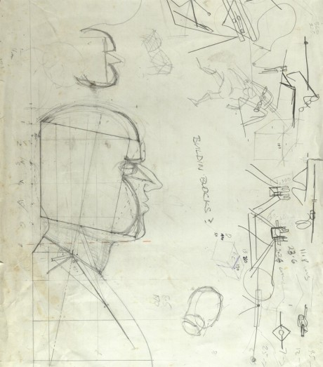 An early sketch of Gulliver; Source: Macnas archive at NUI Galway