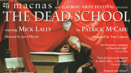Production poster for The Dead School featuring Mick Lally, 1998; Source: Macnas archive at NUI Galway